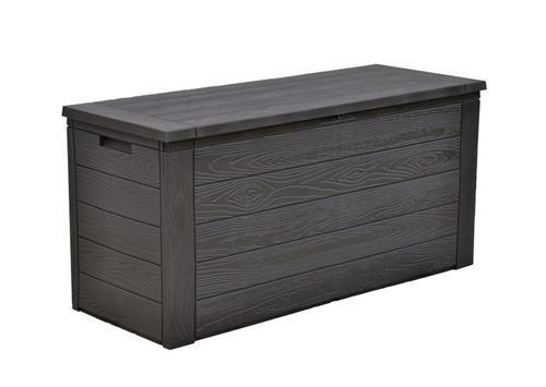auflagenbox 300 liter in schwarz holzoptik - Auflagenbox 300 Liter in Schwarz Holzoptik