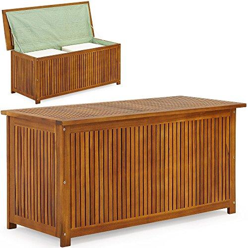 51s+7XW85wL - Auflagenbox mit Innenplane Holztruhe Akazienholz 117cm Kissenbox Gartenbox Gartentruhe Auflagen Truhe