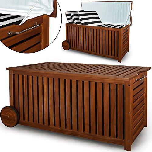 holz auflagenbox mit raedern 117cm akazie kissenbox gartenbox gartentruhe truhe - Holz Auflagenbox mit Rädern 117cm Akazie Kissenbox Gartenbox Gartentruhe Truhe